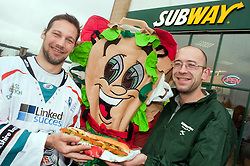 """Staff at the Centertainment branch of Subway  and Sheffield Steelers Ben Simon with Subman and one of the """"Healthier Way"""" range of Subs.26  October 2010 .Images © Paul David Drabble"""