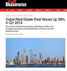 Gulf Business; Skyline of Dubai at dusk