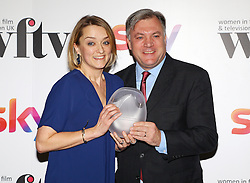 Ed Balls presented Laura Kuenssberg with the BBC News and factual award at the Women in Film & TV Awards at the Hilton hotel in central London.