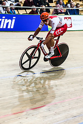 March 2, 2019 - Pruszkow, Poland - Szymon Sajnok (POL)  competes in the Men's Omnium scratch race on day four of the UCI Track Cycling World Championships held in the BGZ BNP Paribas Velodrome Arena on March 02 2019 in Pruszkow, Poland. (Credit Image: © Foto Olimpik/NurPhoto via ZUMA Press)