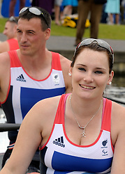 © Licensed to London News Pictures. 27/06/2012. Henley-on-Thames, UK Sam Scowen and Nick Beighton. Great Britain's rowing team for the London 2012 Paralympics was announced during Wednesday's lunch interval and the four crews rowed down the Henley course through the enclosures. Henley Royal Regatta on June 26, 2012 in Henley-on-Thames, England. The 172-year-old rowing regatta is held 27th June- 1st July 2012. Photo credit : Stephen Simpson/LNP