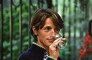 Constance Rerolle Chateau de l'Engarran, Laverune, Montpellier. Gres de Montpellier. Languedoc. Owner winemaker. Tasting wine. France. Europe.