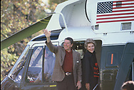 Washington, DC 1984/11/29<br />President Ronald Reagan and First Lady Nancy Reagan wave as they depart the White House for a trip to California for the Thanksgiving holiday.<br /><br />Photograph by Dennis Brack