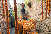 A traditional offrenda or altar honoring family during the Day of the Dead festival October 27, 2016 in San Miguel de Allende, Guanajuato, Mexico. The week-long celebration is a time when Mexicans welcome the dead back to earth for a visit and celebrate life.