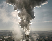 Close up of smokestack from a coal-fired power plant.<br /> Mongolia