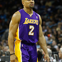 February 5, 2011; New Orleans, LA, USA; Los Angeles Lakers point guard Derek Fisher (2) against the New Orleans Hornets during the first quarter at the New Orleans Arena.   Mandatory Credit: Derick E. Hingle