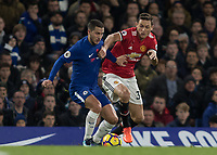 Football - 2017 / 2018 Premier League - Chelsea vs Manchester United<br /> <br /> Eden Hazard (Chelsea FC)  and Nemanja Matic (Manchester United) at Stamford Bridge <br /> <br /> COLORSPORT/DANIEL BEARHAM