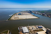 Nederland, Provincie, Plaats, 01-05-2013; overzicht Eemshaven, Emmahaven met elektriciteitscentrales van Nuon, Electrabel en Essent. Waddenzee in de achtergrond..Overview with several power plants. Wadden Sea in the back..luchtfoto (toeslag op standard tarieven).aerial photo (additional fee required).copyright foto/photo Siebe Swart