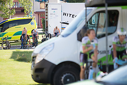Hitec Products Cycling Team riders warm up for the Crescent Vargarda - a 42.5 km team time trial, starting and finishing in Vargarda on August 11, 2017, in Vastra Gotaland, Sweden. (Photo by Balint Hamvas/Velofocus.com)