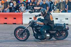 Jason Pullen's amazing motorcycle stunt show at Westworld on Thursday of Arizona Bike Week 2014. USA. April 4, 2014.  Photography ©2014 Michael Lichter.