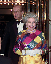 File photo dated 29/11/99 of Queen Elizabeth II and the Duke of Edinburgh arriving at the Birmingham Hippodrome for the 1999 Royal Variety Performance. The Royal couple will celebrate their platinum wedding anniversary on November 20.