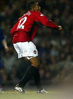 Photo. Aidan Ellis.<br /> Manchester United v Everton.<br /> FA Barclaycard Premiership.<br /> 26/12/2003.<br /> United's David Bellion scores the third goal.