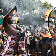 Hackney carnival 2018. The dancers and floats were followed by crowds of locals who had turned out in large numbers.