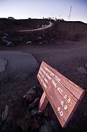 A trail sign near the summit of Mauna Loa, Hawaii.