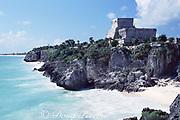 Temple of the Wind, Mayan ruins at Tulum, Quintana Roo, Yucatan Peninsula, Mexico ( Caribbean )