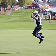 Ryder Cup 2016. Day Three. Phil Mickelson of the United States jumps for joy as he holes his putt on the eighteenth during his match with Sergio Garcia of Europe which was halved during the Sunday singles competition at  the Ryder Cup tournament at Hazeltine National Golf Club on October 02, 2016 in Chaska, Minnesota.  (Photo by Tim Clayton/Corbis via Getty Images)