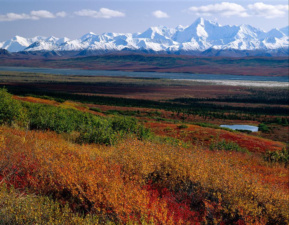 The Alaska Range and McKinley River, late September, Denali National Park, Alaska, USA