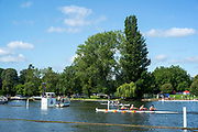 Henley-On-Thames, Berkshire, UK., Wednesday, 11.08.21,   Heat of the Fawley Challenge Cup, Tideway Scullers School 'B' , passing the One Mile and One Eights mile, box, 2021 Henley Royal Regatta,  [ Mandatory Credit © Peter Spurrier/Intersport Images],