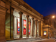 Centaur Theatre at the blue hour, in downtown old Montreal, Quebec, Canada
