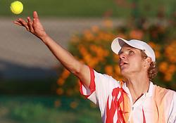 Blaz Rola of Slovenia at 1st Round of ATP Challenger BMW Ljubljana Open 2008, on September 8, 2008, Ljubljana, Slovenia. (Photo by Vid Ponikvar / Sportal Images)...