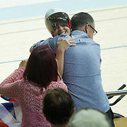 Track Cycling - Olympics: Day 8  Laura Trott of Great Britain with family members in crowd after the Great Britain team of Katie Archibald, Laura Trott, Elinor Barker and Joanna Rowsell-Shand won the gold medal in the Women's Team Pursuit Final during the track cycling competition at the Rio Olympic Velodrome August 12, 2016 in Rio de Janeiro, Brazil. (Photo by Tim Clayton/Corbis via Getty Images)
