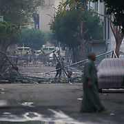Military barricades outside the Interior Ministry near Tharir Square in central Cairo.