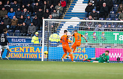 Dundee United's Paul Dixon clears to Falkirk's James Craigen who scores their third goal. Falkirk 3 v 0 Dundee United, Scottish Championship game played 11/2/2017 at The Falkirk Stadium.