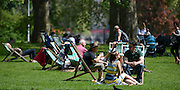 © Licensed to London News Pictures. 22/05/2012. London, UK Deck chairs in the sun in Hyde Park. People enjoy the sunshine in London's Royal Parks today 22 May 2012. Photo credit : Stephen Simpson/LNP