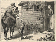 'A Canadian postman  mounted on horseback, delivering a letter to an isolated household.  Illustration by Alfred J. Johnson (active 1874-1894).'
