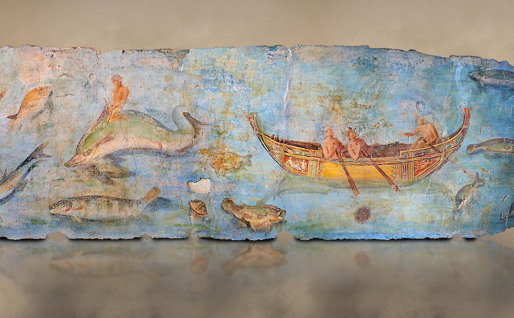 Roman Fresco with boats and marine life from the second quarter of the first century AD. (mosaico fauna marina da porto fluviale di san paolo), museo nazionale romano ( National Roman Museum), Rome, Italy. inv. 121462 .  Against an art background.<br /> The frescoes depict boats decorated as boats which went along the Tiber on festival days; their shape appears to be the caudicariae boats, used to transport merchandise. In the fresco fragment exhibited here (Ambiente E) the boat on the left depicts probably the group of 'side Serapide and Demetra on the stern, whereas the one on the right presents a crowned character on the bow and, on the stern, a feminine figure fluctuating in the air. Between the two boats, a young boy (a cupid or Palaimon-Portunus) rides a dolphin. All around are depicted several fish incredibly casting their shadows on the sea. The ichthyic fauna, lifeless as in still life decoration, is detailed as in a scientific catalogue. For the most part the represented species live next to the coast or were bred by the Romans in the piscinae salsac or in ponds. It is possible to recognize the rock mullet (mullus sunnuletus) and the mud one (mullus barbatu4 the scorpion fish (scorpoena) the dentex (dentex dentex), the aguglia (belone agus) the dolphin (delphinus delphis) and the golden mullet (lire curate). .<br /> <br /> If you prefer to buy from our ALAMY PHOTO LIBRARY  Collection visit : https://www.alamy.com/portfolio/paul-williams-funkystock/national-roman-museum-rome-fresco.html<br /> <br /> Visit our ROMAN ART & HISTORIC SITES PHOTO COLLECTIONS for more photos to download or buy as wall art prints https://funkystock.photoshelter.com/gallery-collection/The-Romans-Art-Artefacts-Antiquities-Historic-Sites-Pictures-Images/C0000r2uLJJo9_s0