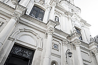 Facade of the historic San Pedro Telmo chuch in the neighborhood of San Telmo in Buenos Aires
