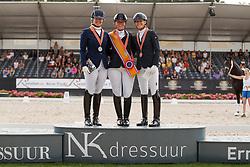 Podium ZZ, Beckers Kirsten, Schoots Lotje, Van Kempen Floortje, NED<br /> Nederlands Kampioenschap Dressuur <br /> Ermelo 2018<br /> © Hippo Foto - Dirk Caremans<br /> 28/07/2018