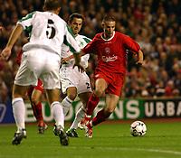 Fotball<br /> UEFA Cup 2003/2004 Norway Only<br /> Foto: Digitalsport<br /> <br /> ANTONY LE TALLEC<br /> LIVERPOOL Vs NK KD OLIMPIJA UEFA CUP 15/10/03<br /> PHOTO ROBIN PARKER