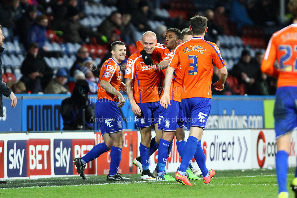 David Cotterill of Birmingham City (c) celebrates with his teammates after scoring his teams 1st goal. Skybet football league championship match, Huddersfield Town v Birmingham city at the John Smith's stadium in Huddersfield, Yorkshire on Saturday 20th December 2014.<br /> pic by Chris Stading, Andrew Orchard sports photography.