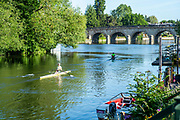 Maidenhead, Berkshire, UK., 29th May 2020, Maidenhead RC, COVID 19, Training, Only private-owned Single Sculls,  All athletes [Juniors Masters,] have to observe Social Distancing,<br />  [© Peter Spurrier/Intersport Images],