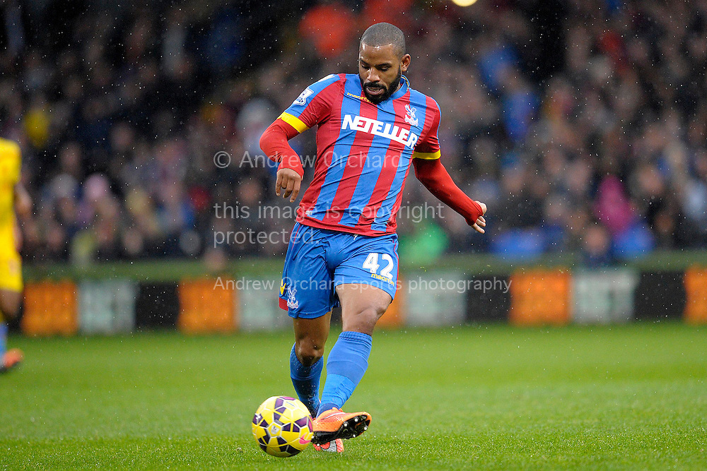 Jason Puncheon of Crystal Palace passing the ball. Barclays Premier league match, Crystal Palace v Liverpool at Selhurst Park in London on Sunday 23rd November 2014.<br /> pic by John Patrick Fletcher, Andrew Orchard sports photography.