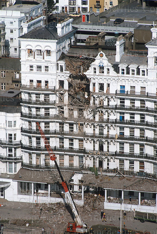 The Grand Hotel, Brighton,UK in the aftermath of the IRA terror bombing of the hotel on 12 October 1984. Assassination attempt on Prime Minister Margaret Thatcher and her government by the Provisional Irish Republican party. photograph by Terry Fincher