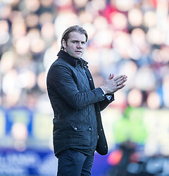 Hearts Head Coach Robbie Neilson. <br /> Falkirk 0 v 3 Hearts, Scottish Championship game played 21/3/2015 at The Falkirk Stadium.
