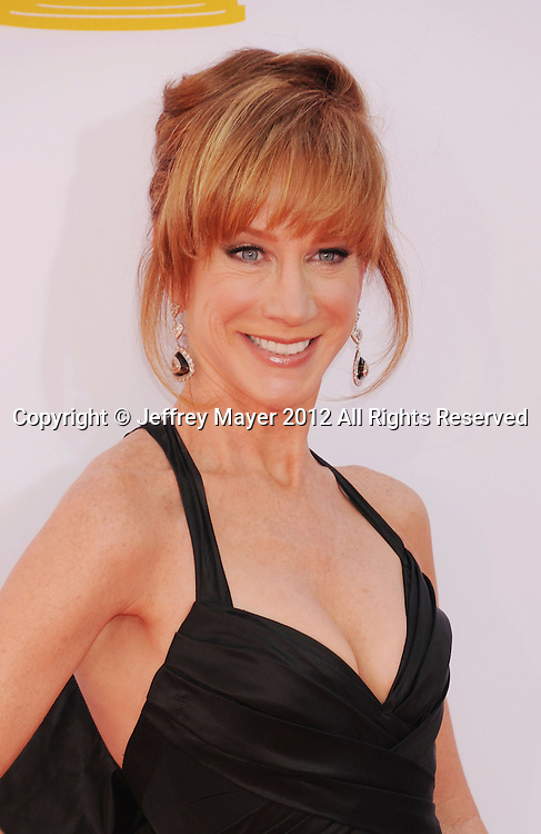 LOS ANGELES, CA - SEPTEMBER 23: Kathy Griffin arrives at the 64th Primetime Emmy Awards at Nokia Theatre L.A. Live on September 23, 2012 in Los Angeles, California.