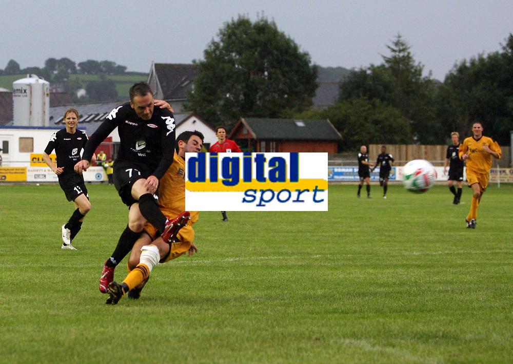 Photo: Rich Eaton.<br /> <br /> Carmarthen Town v SK Brann. UEFA Cup Qualifying. 19/07/2007. SK Brann's Robbie Winters fires in a second half shot.