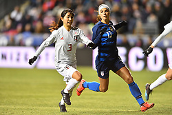 February 27, 2019 - Chester, PA, U.S. - CHESTER, PA - FEBRUARY 27: Japan Defender Aya Sameshima (3) defends US Forward Alex Morgan (13) in the first half during the She Believes Cup game between Japan and the United States on February 27, 2019 at Talen Energy Stadium in Chester, PA. (Photo by Kyle Ross/Icon Sportswire) (Credit Image: © Kyle Ross/Icon SMI via ZUMA Press)