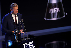 Peter Schmeichel presents the award for Best FIFA goalkeeper during the Best FIFA Football Awards 2017 at the Palladium Theatre, London.