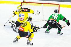 02.11.2014, Hala Tivoli, Ljubljana, SLO, EBEL, HDD Telemach Olimpija Ljubljana vs UPC Vienna Capitals, 16. Runde, in picture Rok Leber (HDD Telemach Olimpija, #18) vs David Kickert (UPC Vienna Capitals, #30) during the Erste Bank Icehockey League 16. Round between HDD Telemach Olimpija Ljubljana and UPC Vienna Capitals at the Hala Tivoli, Ljubljana, Slovenia on 2014/11/02. Photo by Matic Klansek Velej / Sportida