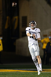 Nevada quarterback Carson Strong (12) looses a pass against California during the second quarter of an NCAA college football game, Saturday, Sept. 4, 2021, in Berkeley, Calif. (AP Photo/D. Ross Cameron)
