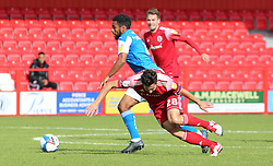 Nathan Thompson of Peterborough United in action with Seamus Conneely of Accrington Stanley - Mandatory by-line: Joe Dent/JMP - 12/09/2020 - FOOTBALL - Wham Stadium - Accrington, England - Accrington Stanley v Peterborough United - Sky Bet League One