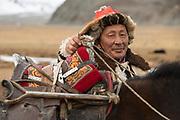 Kazakh eagle hunter<br /> Mongolia's largest ethnic minority<br /> near Altai Sum<br /> Western Mongolia