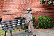 Bronze statue of author William Falkner, on the square in Oxford Mississippi.
