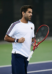 March 8, 2019 - Indian Wells, CA, U.S. - INDIAN WELLS, CA - MARCH 08: Maximo Gonzalez (ARG) reacts after winning a point in the second set of a doubles match during the BNP Paribas Open played at the Indian Wells Tennis Garden in Indian Wells, CA. (Photo by John Cordes/Icon Sportswire) (Credit Image: © John Cordes/Icon SMI via ZUMA Press)