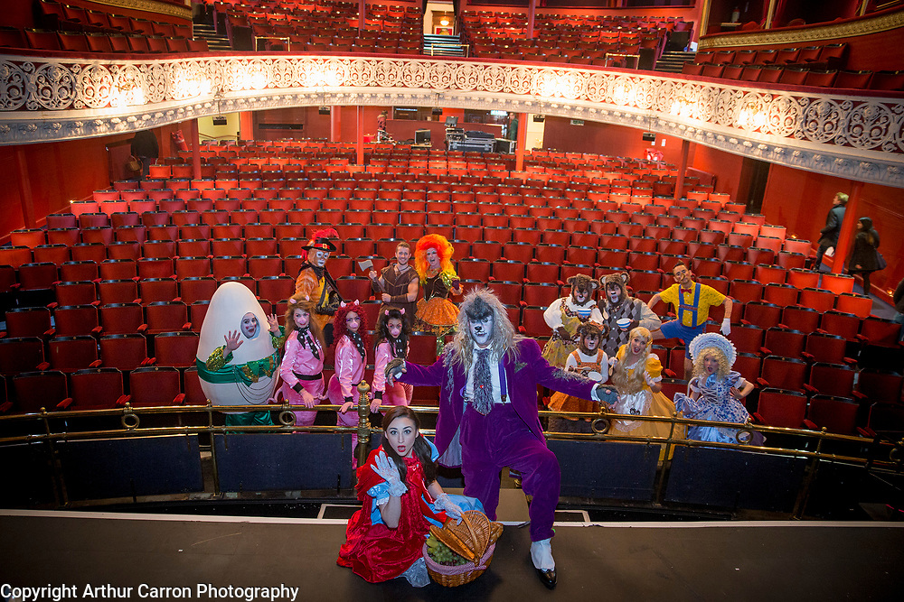 """NO FEE PICTURES<br /> 4/11/15 Little Red Riding Hood aka Hayley-Jo Murphy and The Big Bad Wolf aka Nicholas Grennell, joined by the rest of the cast at the launch of this year's Gaiety Panto """"Little Red Riding Hood and the Big Bad Wolf"""" at the Gaiety in Dublin.Performances from 29th November until January 10th, tickets priced €19.50 on sale now.  Picture:Arthur Carron"""