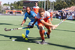 (L-R) Sunil Sowmarpet Vitalacharya of India, Bob de Voogd of The Netherlands during the Champions Trophy match between the Netherlands and India on the fields of BH&BC Breda on June 30, 2018 in Breda, the Netherlands